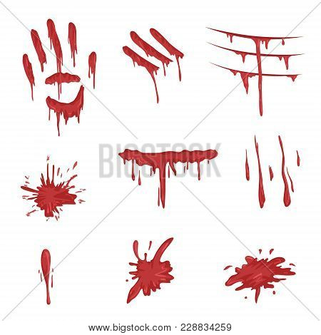 Blood Spatters Set, Red Palm Prints, Finger Smears And Stains Vector Illustrations Isolated On A Whi