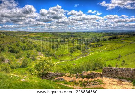 View From Walk To Top Of Malham Cove Yorkshire Dales England Uk Popular Tourist Attraction In Colour