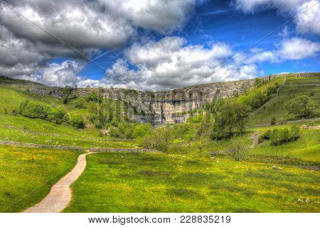 Malham Cove Yorkshire Dales National Park England Uk Popular Tourist Attraction In Colourful Hdr