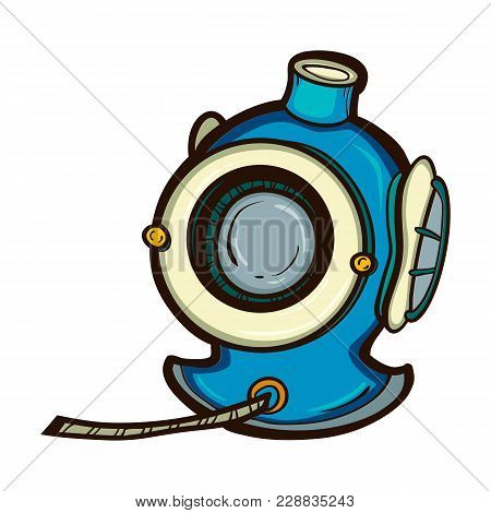 Diving Helmet Isolated. Hand Drawn Illustration Equipment For Deep Sea Diver