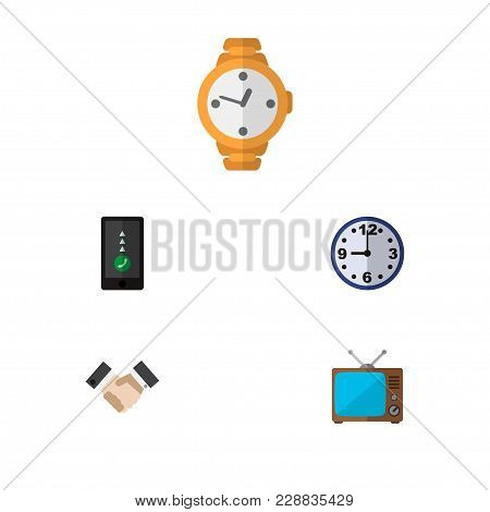 Icon Flat Lifestyle Set Of Handshake, Clock, Old Tv Vector Objects. Also Includes Clock, Greeting, T