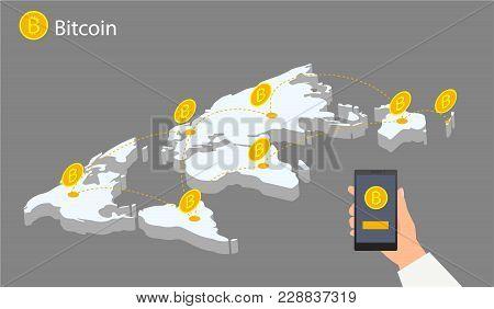 Flat Design With Human Hands, Smartphones And Golden Bitcoins. Eps 10 Vector File. Flat Modern Desig