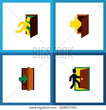 Icon Flat Door Set Of Evacuation, Entry, Entrance And Other Vector Objects. Also Includes Door, Entr