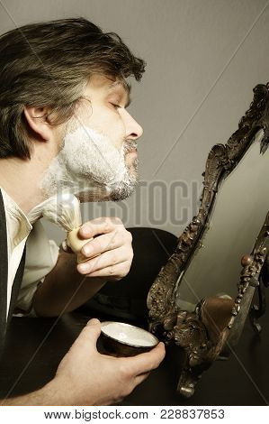 Prewar Old Style Man Creaming His Neck With Brush For Shaving