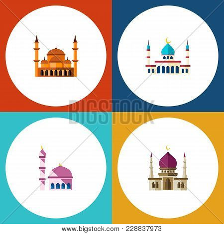 Icon Flat Mosque Set Of Muslim, Mosque, Architecture And Other Vector Objects. Also Includes Mosque,