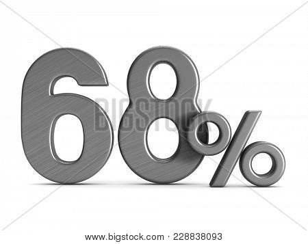 sixty eight percent on white background. Isolated 3D illustration