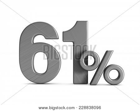 sixty one percent on white background. Isolated 3D illustration