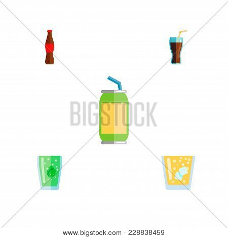 Icon Flat Beverage Set Of Bottle, Beverage, Juice And Other Vector Objects. Also Includes Drink, Bev