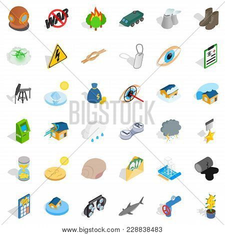 World Conflict Icons Set. Isometric Set Of 36 World Conflict Vector Icons For Web Isolated On White