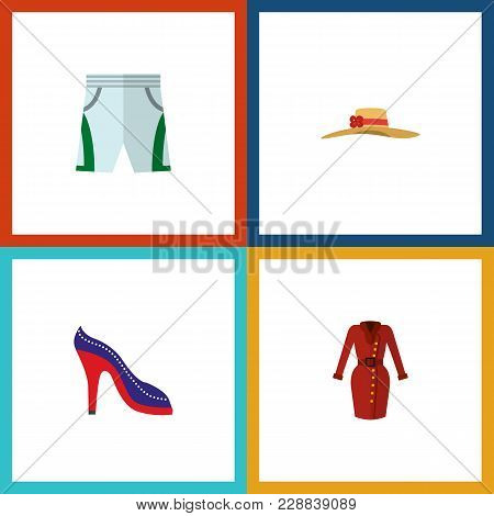 Icon Flat Clothes Set Of Shorts, Sandal, Woman Hat Vector Objects. Also Includes Cloth, Shoes, Sanda