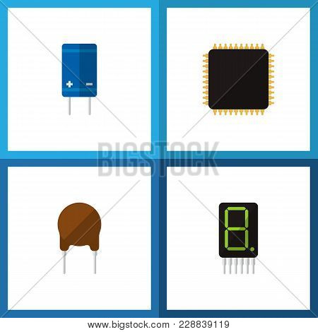 Icon Flat Electronics Set Of Microprocessor, Calculator, Receiver And Other Vector Objects. Also Inc