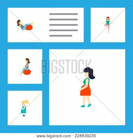 Icon Flat Pregnant Set Of Pregnancy, Mother, Pose And Other Vector Objects. Also Includes Pregnant,