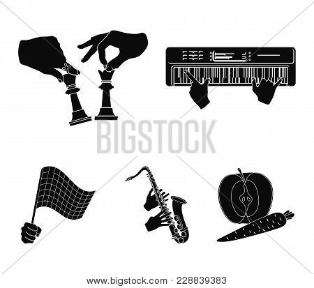 Playing On An Electric Musical Instrument, Manipulation With Chess Pieces And Other  Icon In Black S