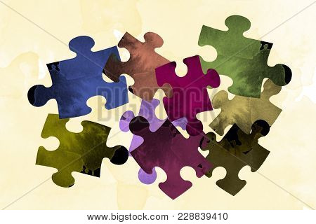 Puzzle Game Watercolor Background Pictures Figurines Groove Abstraction