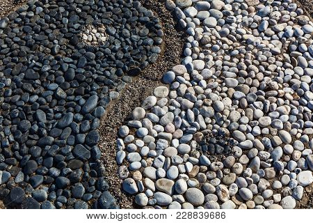 The Conception Of Yin And Yang Is Laid With Stones On The Sand, Yin And Yang Of Stones
