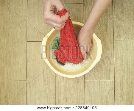 Hands Washing Color Clothes In Basin Liquid, Cotton, Domestic, Red, Detergent, Housewife, Froth