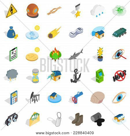 Destroy Nature Icons Set. Isometric Set Of 36 Destroy Nature Vector Icons For Web Isolated On White