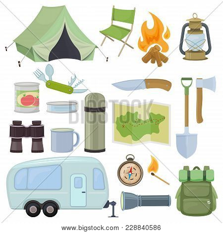 Set Of Travel Equipment. Accessories For Camping And Camps. Colorful Cartoon Illustration Of Camping