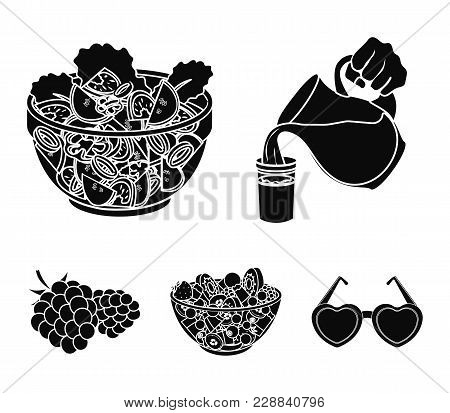 Fruit, Vegetable Salad And Other Types Of Food. Food Set Collection Icons In Black Style Vector Symb