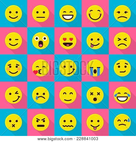 Smile Emoticons Icons Set. Flat Illustration Of 25 Smile Emoticons Vector Icons For Web