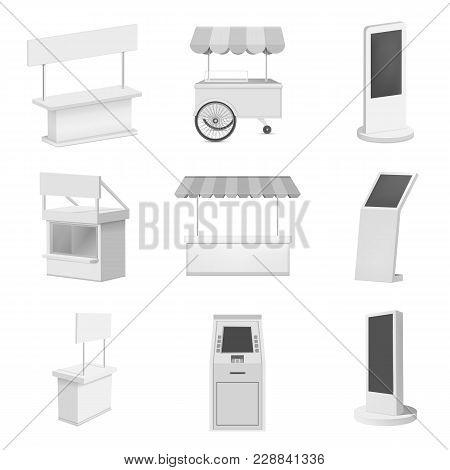 Kiosk Stand Booth Mockup Set. Realistic Illustration Of 9 Kiosk Stand Booth Mockups For Web