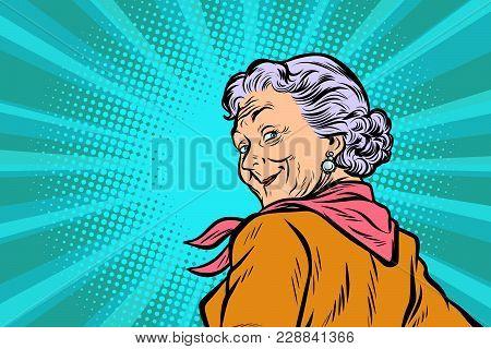 Gray Haired Grandmother A Good Look. Pop Art Retro Vector Illustration Comic Cartoon Figure Vintage