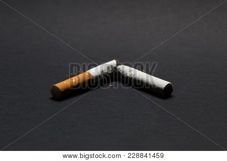 Broken Cigarette On A Black Background, Quit Smoking
