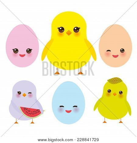 Kawaii Colorful Blue Green Orange Pink Yellow Egg And Chick With Pink Cheeks And Winking Eyes, Paste