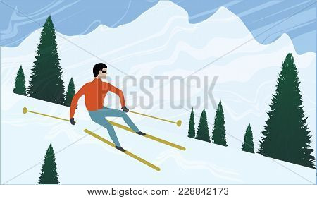 Skier Descends From A Mountain In The Background Of Snow Mountains And Firs - Art Creative Illustrat