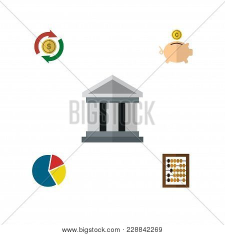 Icon Flat Incoming Set Of Pie Bar, Building, Abacus And Other  Objects. Also Includes Bank, Intercha