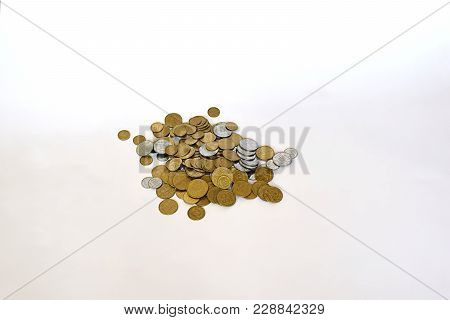 Placer Of Coins (kopecks), Isolated On White Background.