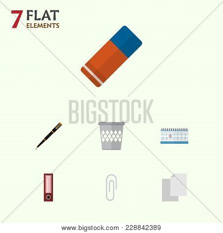 Icon Flat Tool Set Of Blank, Clip, Bin And Other  Objects. Also Includes File, Clip, Pen Elements.