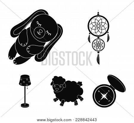 Dream Catcher, Soft Toy Sheep And Rabbit, Floor Lamp. Rest And Sleep Set Collection Icons In Black S