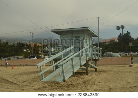 Lifeguard Stand On Malibu Beach. Architecture Nature Landscape. July 4, 2017. Malibu California Usa
