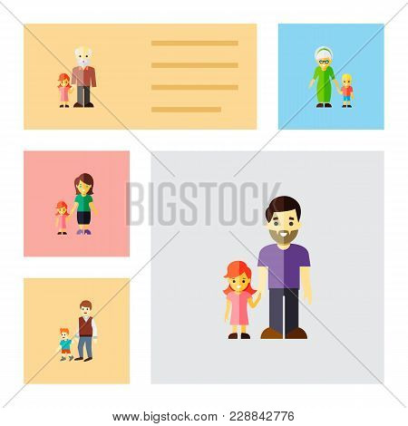 Icon Flat Relatives Set Of Daugther, Grandchild, Brothers  Objects. Also Includes Family, Father, Da