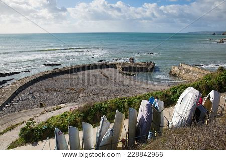 Portwrinkle Harbour Cornwall England Uk With Boats And Near Looe