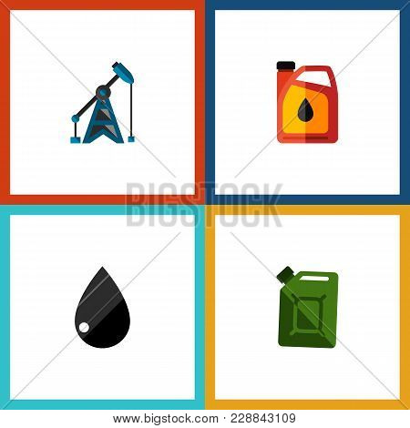 Icon Flat Fuel Set Of Fuel Canister, Liquid Drop, Oil Pump And Other  Objects. Also Includes Oil, Je