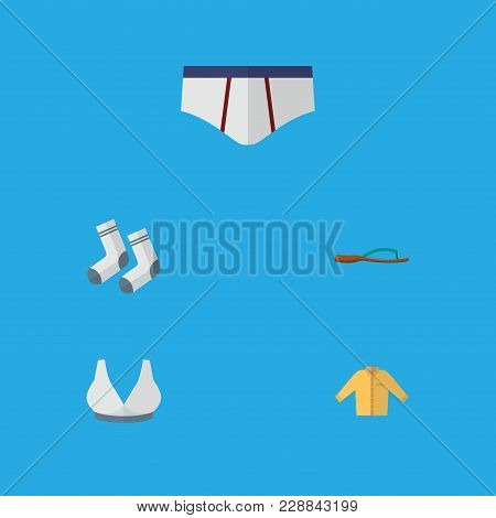 Icon Flat Garment Set Of Shirt, Sport Bra, Underwear And Other  Objects. Also Includes Bra, Shirt, U