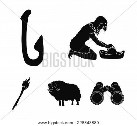 Cattle, Catch, Hook, Fishing .stone Age Set Collection Icons In Black Style Vector Symbol Stock Illu