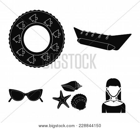 Water Attraction, Seashells, Goggles.summer Vacation Set Collection Icons In Black Style Vector Symb