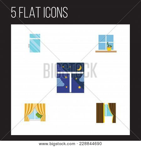 Icon Flat Window Set Of Flowerpot, Clean, Glass Frame And Other  Objects. Also Includes Window, Clea