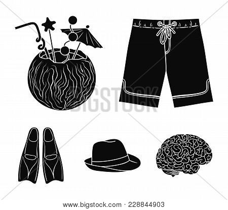Swimming Trunks, Cocktail With Coconut, Panama And Flippers. Surfing Set Collection Icons In Black S