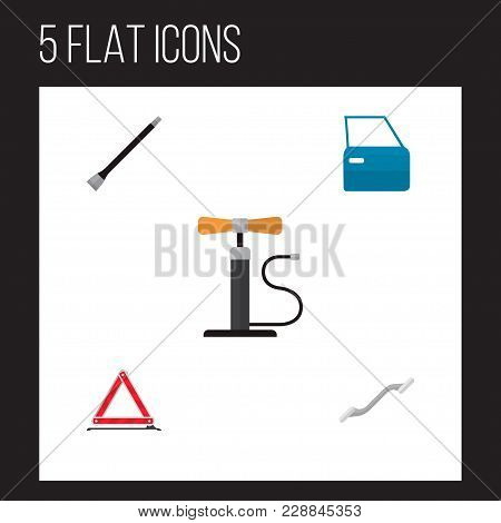 Icon Flat Workshop Set Of Pumping Air, Coupler, Emergency Stop And Other  Objects. Also Includes Car