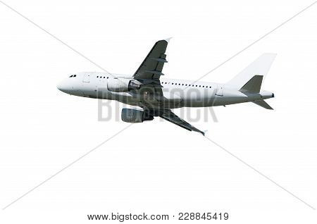 Airplane With White Blank Livery And Two Engines In Flight Isolated On White Background. Airplane. A
