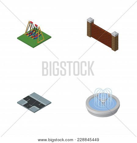 Isometric Architecture Set Of Park Decoration, Barrier, Crossroad And Other  Objects. Also Includes