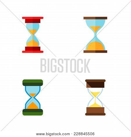 Icon Flat Hourglass Set Of Sand Timer, Instrument, Loading  Objects. Also Includes Hourglass, Timer,