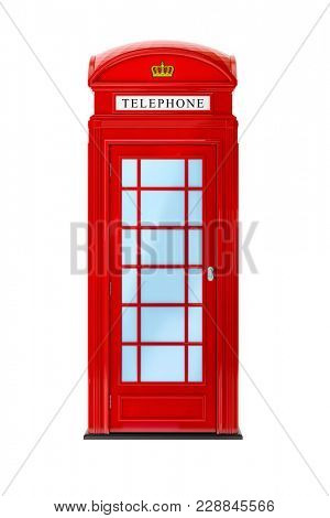 3d illustration of a typical London phone booth isolated on white