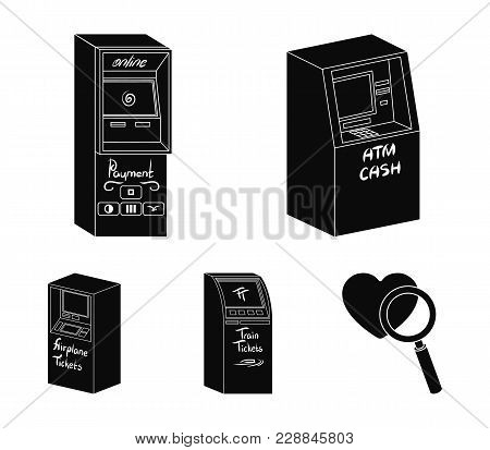 Cash Machine For Cash, Terminal For Payment, Ticket Machine. Terminals Set Collection Icons In Black