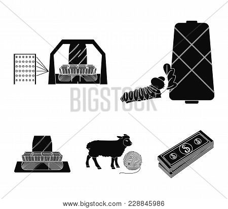 Cotton, Coil, Thread, Pest, And Other  Icon In Black Style. Textiles, Industry, Gear Icons In Set Co