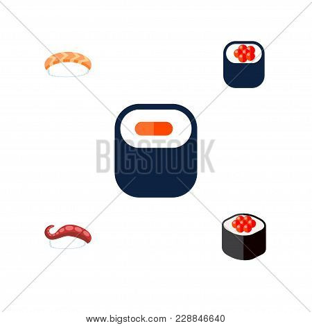 Icon Flat Salmon Set Of Maki, Seafood, Sashimi And Other  Objects. Also Includes Eating, Maki, Seafo